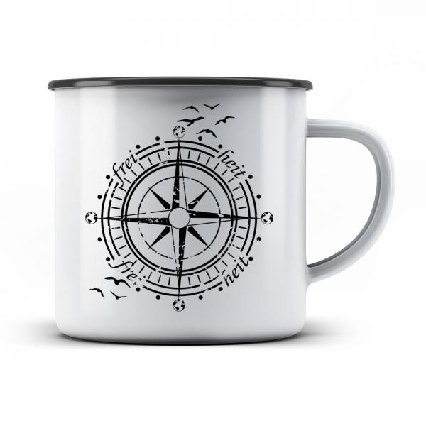 Emaille Tasse Windrose