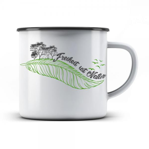 Emaille Tasse Freiheit ist Natur